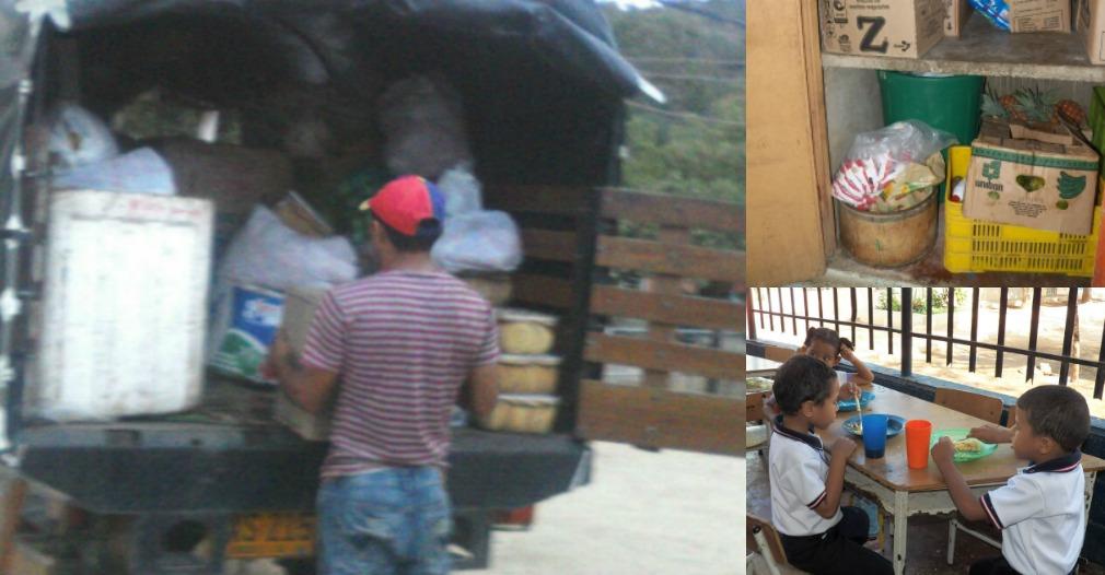 Personal de Nutrir Caribe hace la descarga de alimentos irregular.