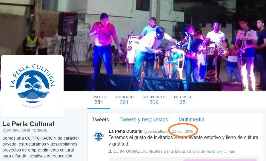 El último trino de la Perla Cultural en Twitter fue cuando estaba a punto de terminarse el convenio que le dio el entonces alcalde Carlos Caicedo.