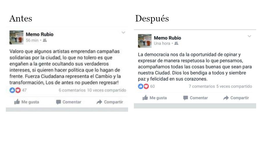 Este fue el 'antes y el después' de los mensajes en Facebook de Luis Guillermo Rubio, de Fuerza Ciudadana.