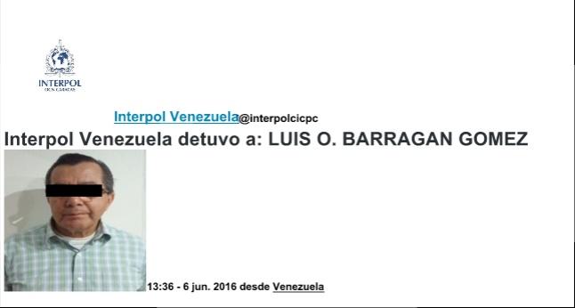 Interpol Venezuela reportó en su página web la captura de Luis Orlando Barragán.