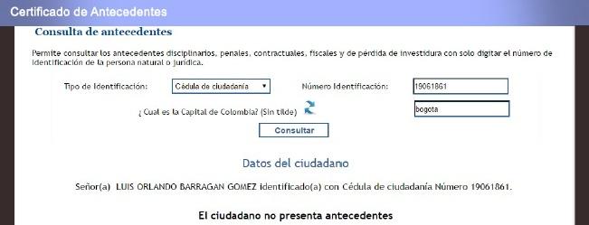 La cédula de Luis Orlando Barragán figura en la base de datos de la Procuraduría.