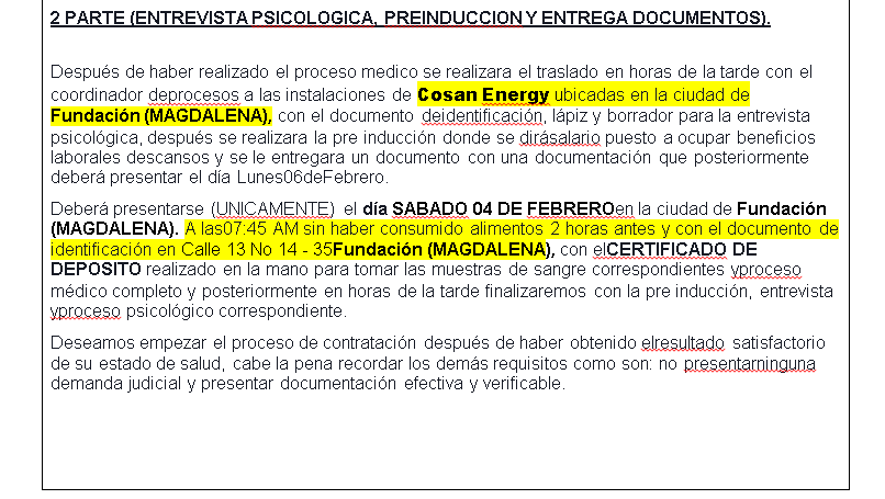 Aparte del documento donde se lee la ubicación de la supuesta empresa.