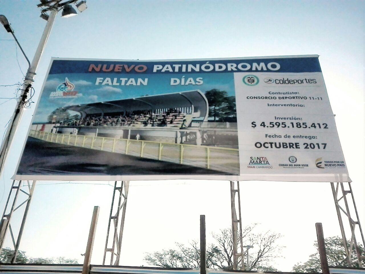 Nuevo patinódromo (Polideportivo). NO tiene conteo regresivo.