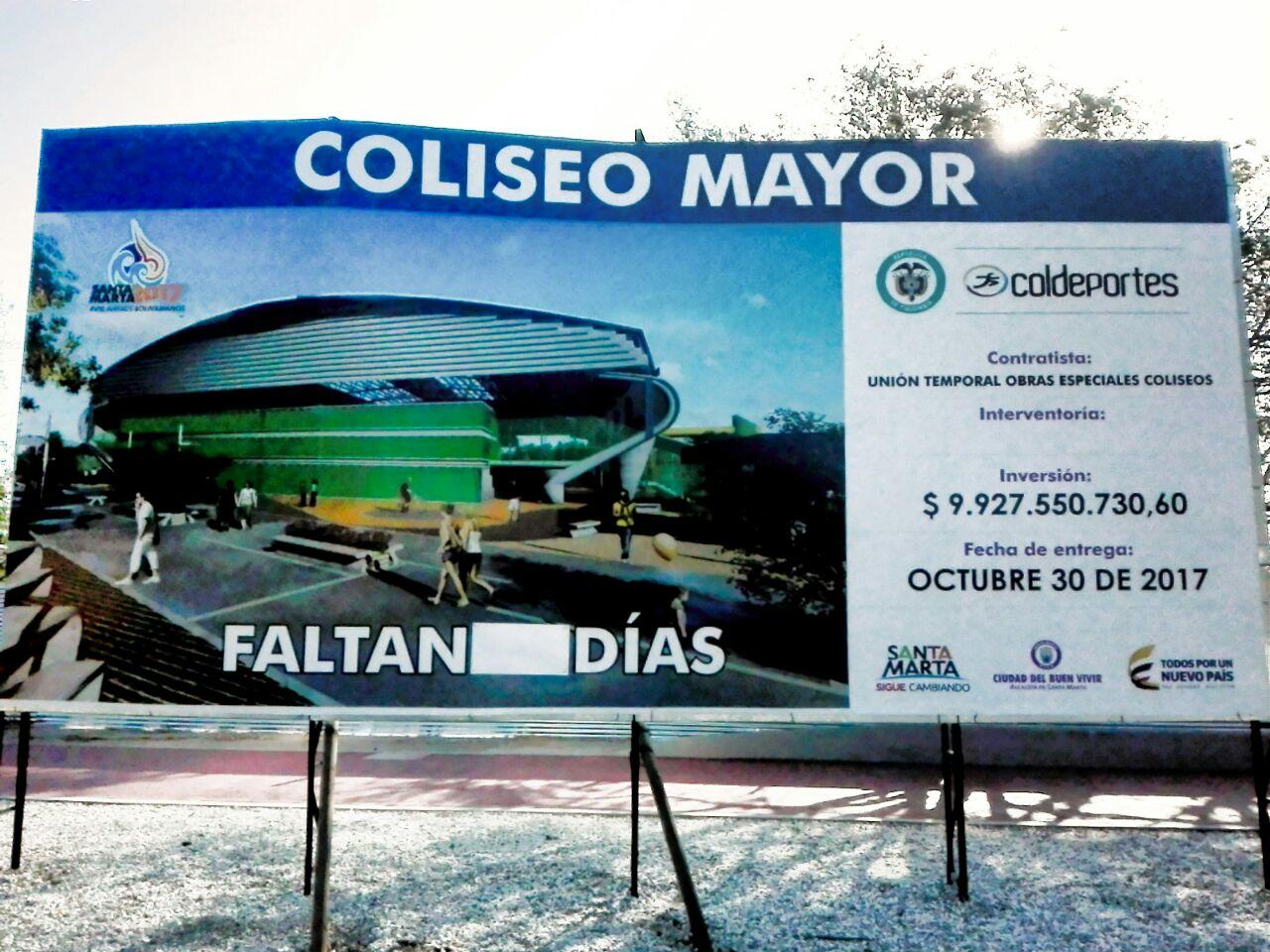 Coliseo Mayor (estadio de básquetbol). NO tiene conteo regresivo.