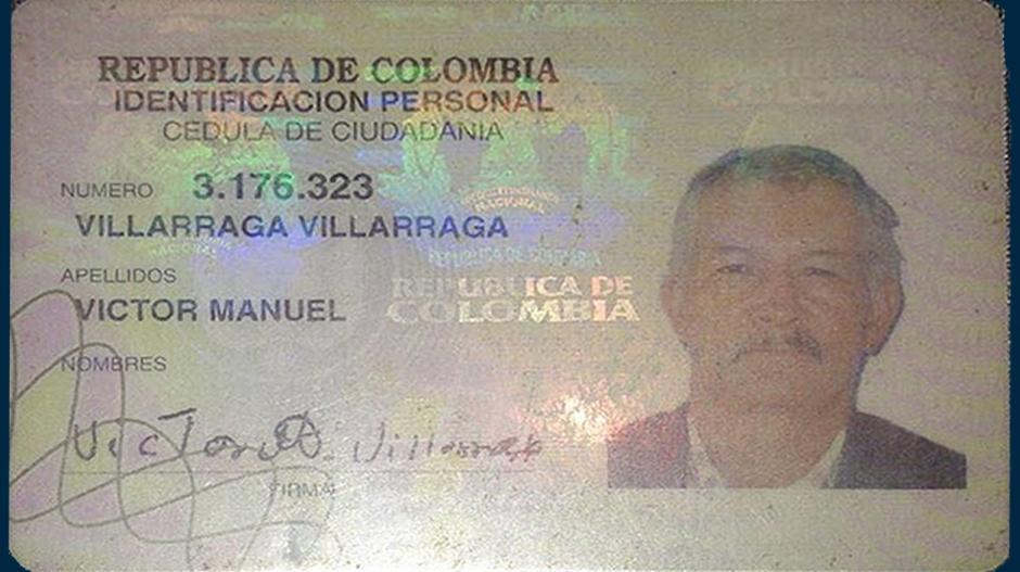 La cédula presentada por Víctor Manuel Villarraga.