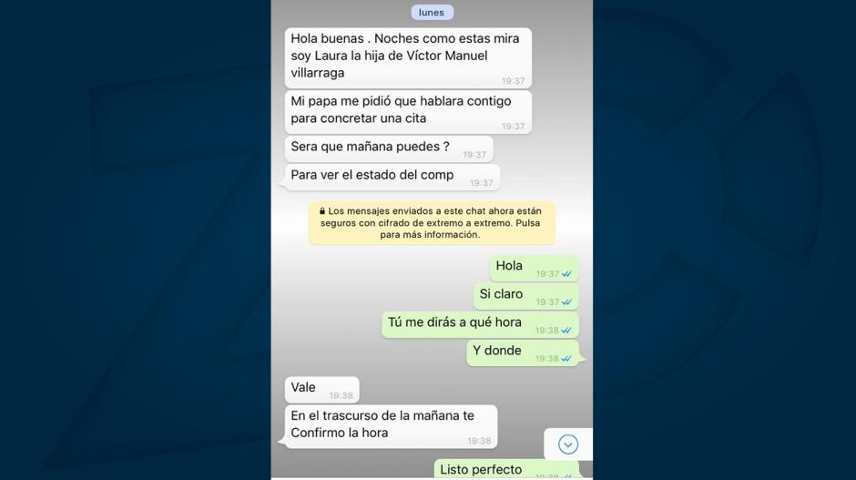 Conversación vía WhatsApp para concretar el negocio.