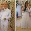 La pareja en su boda.