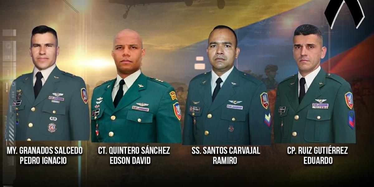 Los fallecidos son:Mayor Pedro Granados, Capitán David Quintero, Sargento Ramiro Santos y Cabo Eduardo Gutiérrez.