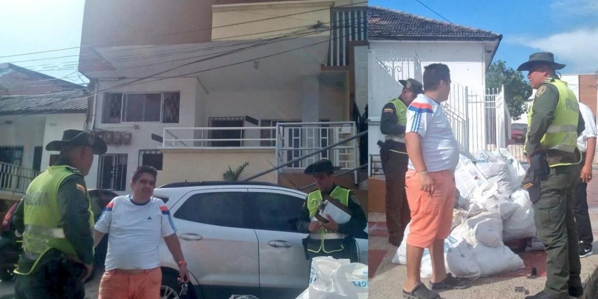 Momentos en que la Policía le impone el comparendo al ciudadano.