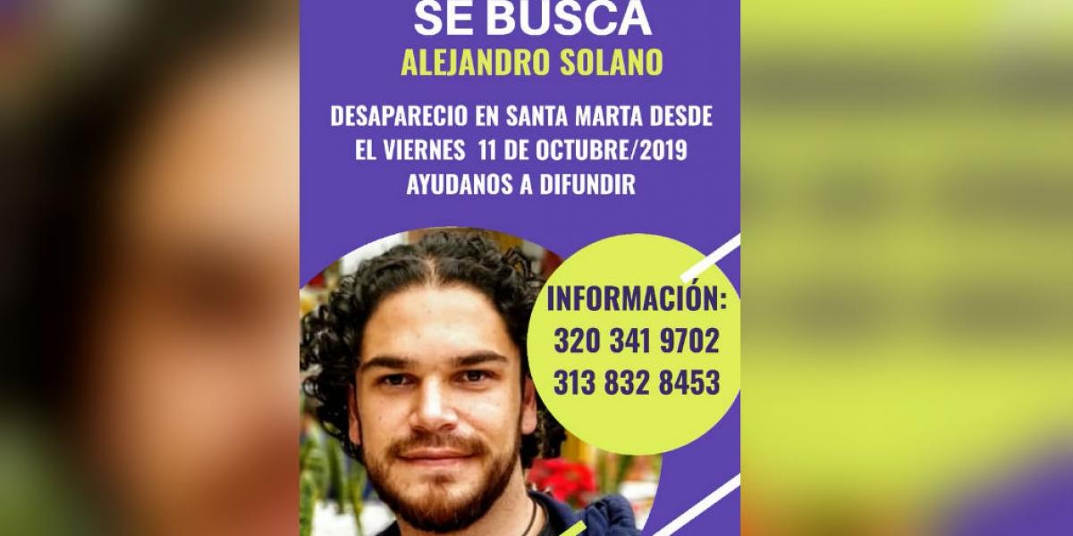 Se busca a Alejandro Solano, desaparecido en Santa Marta