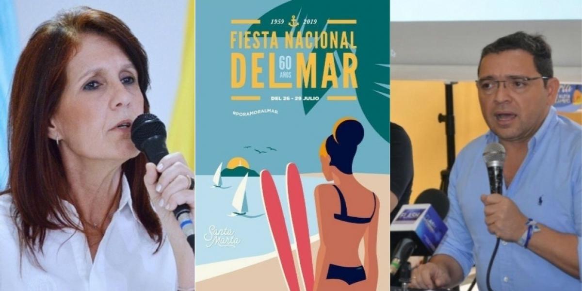 Rosa Cotes, gobernadora del Magdalena; afiche Fiesta Nacional del Mar y el alcalde de Santa Marta, Rafael Martínez.