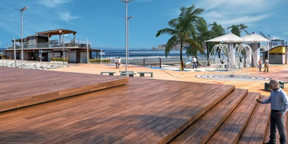 Render recuperación malecón Bahía de Santa Marta