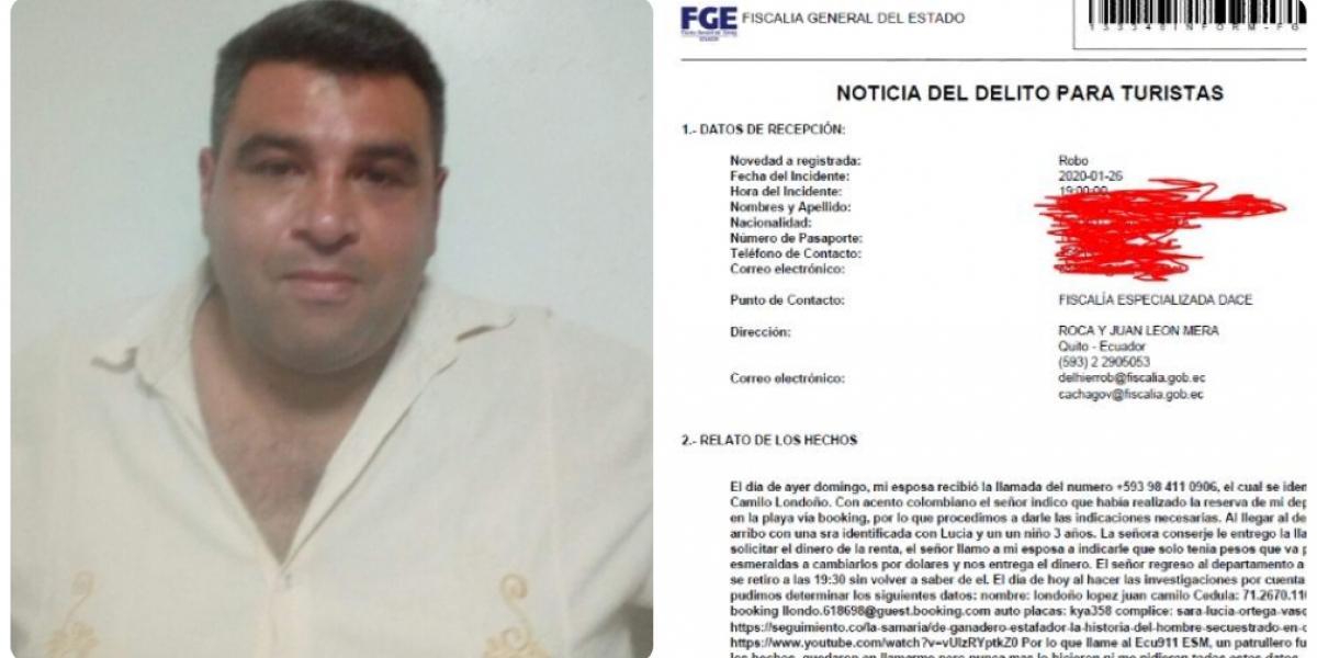 Juan Camilo Londoño ya llegó hasta Ecuador con su accionar delictivo.