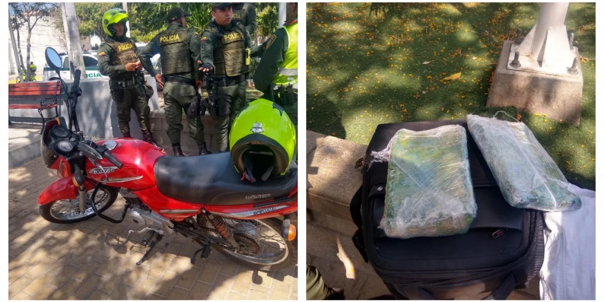 La motocicleta y la droga abandonadas fueron dejadas a disposición de las autoridades.