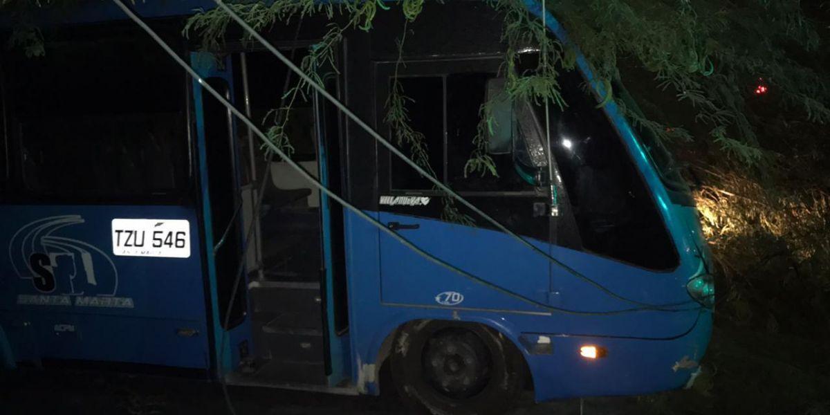 Caída de árbol sobre un bus en El Rodadero.