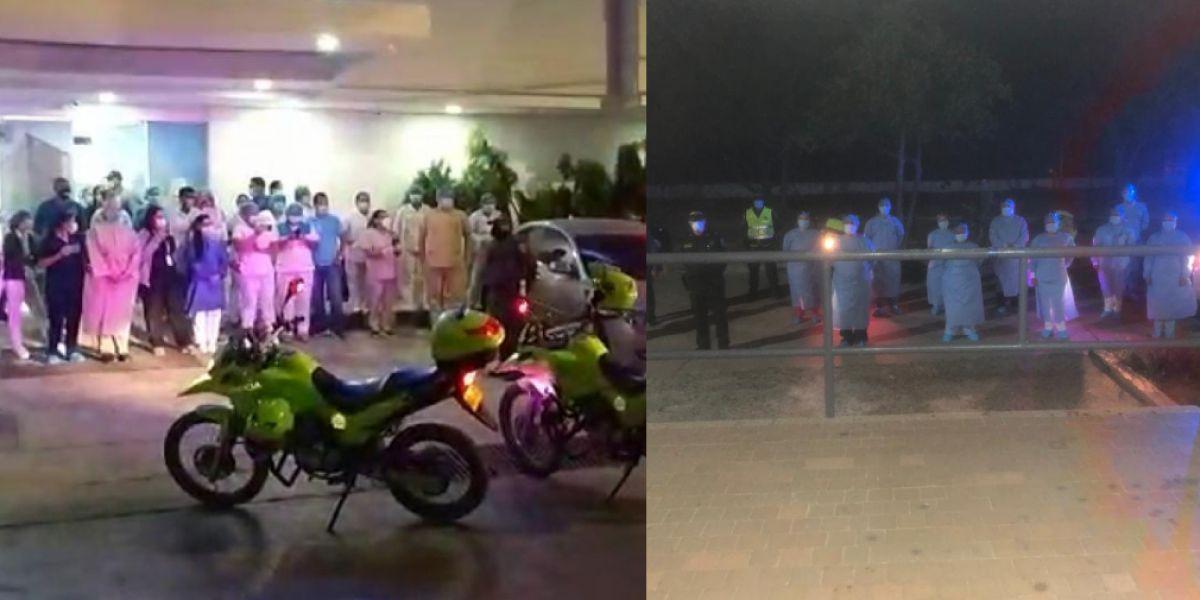Homenaje de los policías al personal de la salud.