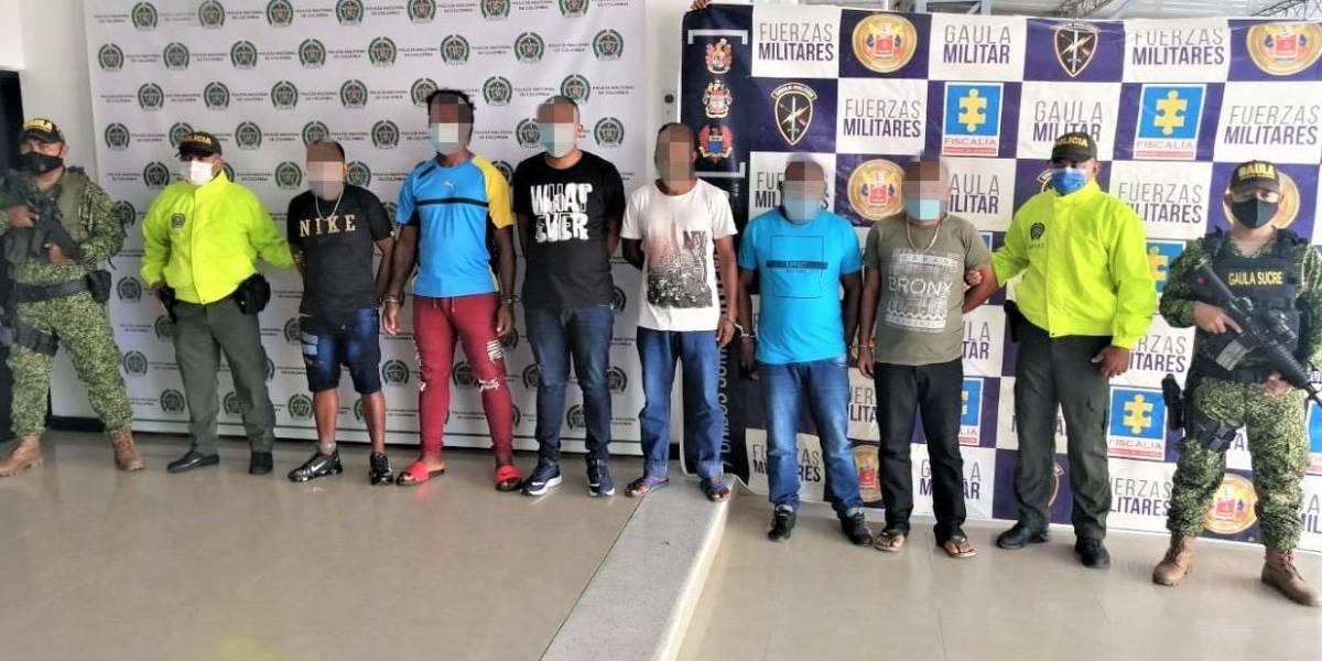 Presuntos miembros del 'Clan del Golfo' capturados en Sucre.