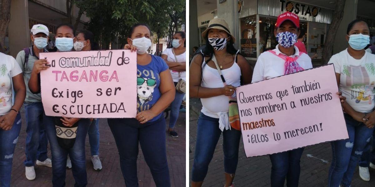 Comunidad de Taganga protestó frente a la Alcaldía Distrital