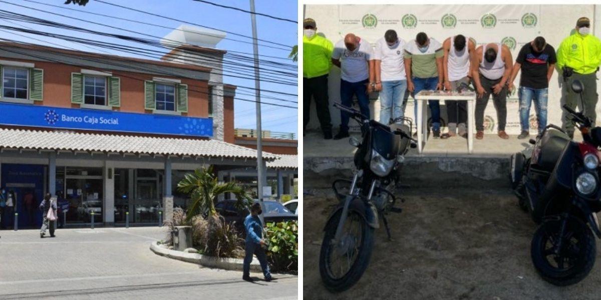 Asaltantes del Banco Caja Social.