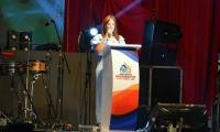 Alcaldesa encargada, Jimena Abril, durante la clausura de Los Juegos Bolivarianos.