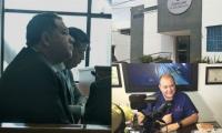 Carlos Gutiérrez Cure, en una audiencia. En otra foto, fachada de la clínica y una foto durante una entrevista a un medio de televisión.