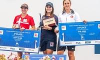 Sara López, campeona en Roma de tiro con arco. La danesa Tanja Jensen fue tercera y la turca Yesim Bostan.