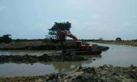 Aspecto del río Fundación con sus obras de dragado