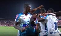 Jugadores del Junior celebrando el gol de Freddy Hinestroza.
