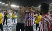 Teófilo Gutiérrez, delantero de Junior, celebra el gol del triunfo.