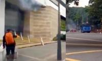 Encapuchados también intentaron quemar un vehículo del MÍO.