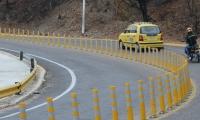 Los hitos plásticos o conos fueron instalados en las curvas más pronunciadas del sector del Ziruma para evitar accidentes.