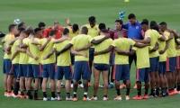 Jugadores de Colombia previo al entrenamiento.