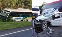 Accidente de tránsito entre un bus y un carro en la vía la Cordialidad.