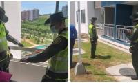 La Policía llegó al lugar e inspeccionó el lugar desde donde habría saltado el perro.