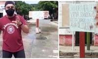 Protesta del barrio Pescaíto, este domingo, por reboses de agua de alcantarilla.