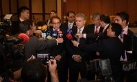 Presidente Iván Duque y ministro de Agricultura, Andrés Valencia