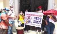 Protesta de profesores que no han sido nombrados.