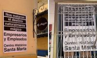Carteles en el Centro Histórico de Santa Marta.