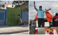 Después de pintar el grafiti, la militante de Fuerza Ciudadana, se subió en una camioneta del movimiento político.