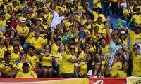 Hinchas de Colombia en las gradas del Metropolitano.