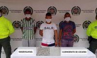 Capturan a tres individuos por el delito de tráfico, fabricación o porte de estupefacientes.
