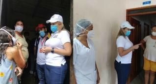 Visita de la alcaldesa Virna Johnson a la zona afectada.