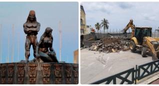 El monumento a los indios fue retirado de su histórica ubicación.
