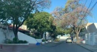 Así estaba el cable por la calle 21 con carrera 12.