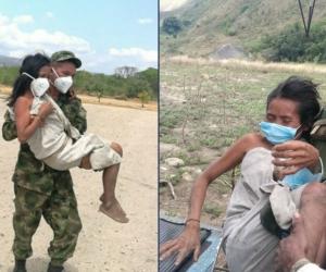 Operativo de traslado de los indígenas en estado de desnutrición.