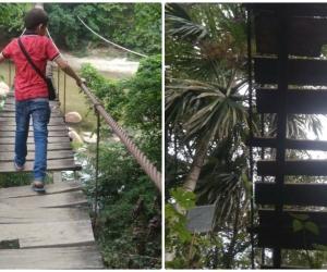 El puente colgante pone en riesgo la vida de los niños que transitan por el sector.