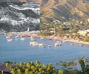 Una vista actual de Taganga y la carretera a Taganga en el año 1957.