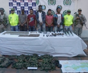 Foto de los integrantes del Clan del Golfo, capturados en Chocó.