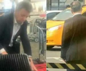 Santos a su salida del aeropuerto.