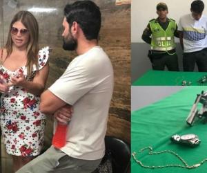 Diva Jessurum, su novio Rafael Caparroso, el capturado y los objetos recuperado